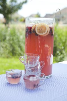 Ingredients:  2 liter Sprite  1 can frozen lemonade  3 cans water  1 package kool-aid lemonade  1 cup sugar  fresh or frozen berries  lemon slices  lots of ice    Directions: Mix everything together in a large drink container. This punch is super sweet, but always a hit at a party.