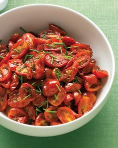 // Oven-Roasted Grape Tomatoes with Chives