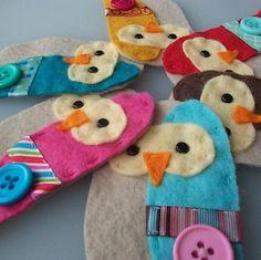 colorful felt owls