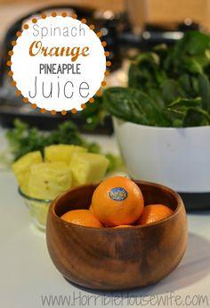 Ingredients for a pineapple orange green juice recipe. #HalosFun #sponsored