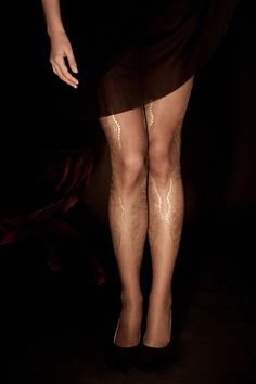 Hand Printed EXCLUSSIVE Tights -La Boheme, Gold on sheer dark brown, Flash Back collection on Etsy, $39.00