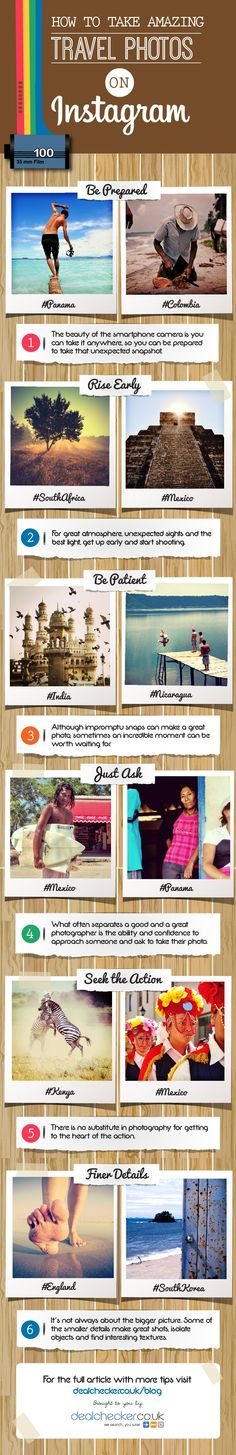 How to take amazing travel photos on Instagram - #SocialMedia #Instagram #Infographic