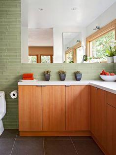 green walls, color schemes, kitchen backsplash, bathrooms, wall tiles, bathroom cabinets, reflect beauti, bathroom walls, glass tiles