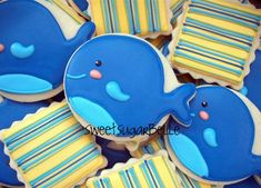blue whale, decorated cookies, mar, whale cooki, cookie cutters, balloon, christmas ornaments, stripe, decor cooki