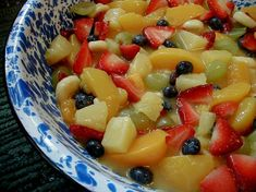 Fruit Salad with pudding fruit salads, dressings, boxes, sauc, fruit salad recipes, juices, peaches, blueberries, coats