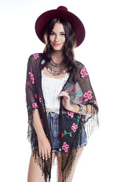 Floral Fringe Crochet Shawl - Blk - Saltwater Gypsy #saltwatergypsy