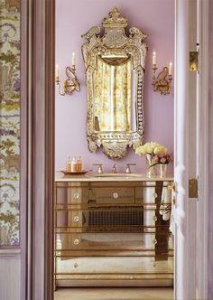wall colors, interior design, vaniti, mirror mirror, mirrored furniture, dresser, venetian mirrors, bathroom, powder rooms