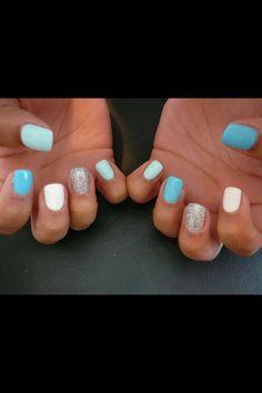 Gel nails -- blue -- white -- glitter