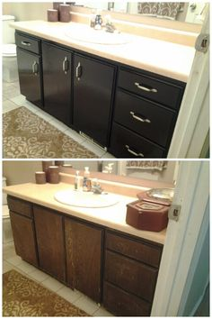 Before  After - Staining bathroom cabinet with General Finishes Gel.  Super easy, much faster  easier than painting