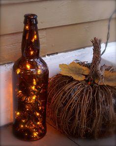 Autumn Decor Lights in Glass Bottle