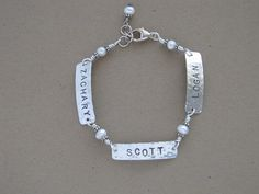 Personalized custom hand stamped sterling silver bracelet with your choice of names or inspirational words and your choice of stone color by JoDeneMoneuseJewelry on Etsy, $65.00