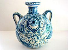 Antique Blue and White Italian Pottery Urn Vase.