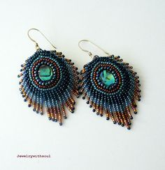 Peacock feather earrings<br />