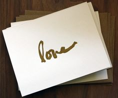 Love this font. 5 love script note card set by papermonkeypress
