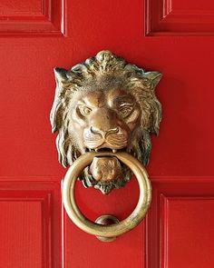 Williams Sonoma knockknock, decor, red doors, door knockers, front doors, hous, knock knock, lions, lion door