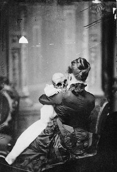 Victorian Creepiness. victorian creepi, skull, memento mori, mother, art, babi, skeleton, weird, halloween photos