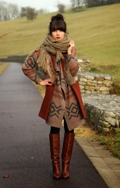 cozy cardigan, brown scarf and brown long boots