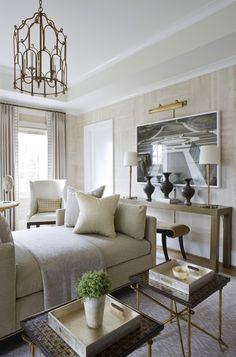 Sitting Room by Michael Hampton, DC Design House 2013    White and Gold interior