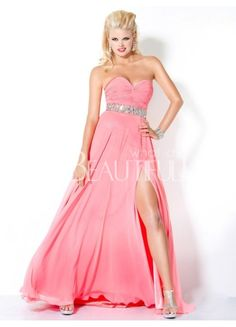 $194.49  Pink Sweetheart Natural Floor-length And Spiltting Chiffon Prom Dress With Sash #pink #sweetheart #dress