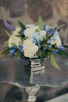 Blue and White Floral Arrangements   Anna Roussos, Santorini, Greece   TheKnot.com
