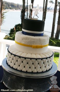 "Design W 0523 | Fondant Wedding Cake | 14""+10""+6"" | Serves 125 | Rockabilly Theme w/ Fondant Lace Embellishments, Classic Leather Car Seat Cushioning Pattern | Custom Quote"