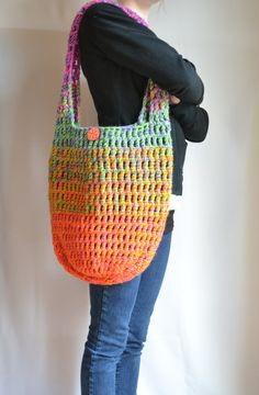 Crochet Shoulder Bag, Hobo Bag, Rainbow, Neon, Spring, Summer, Tote Bag, Hippie Purse