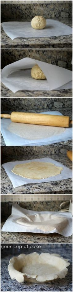 Roll out your pie dough between sheets of parchment paper! No holes and no sticky mess!