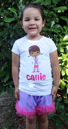 Doc Mcstuffins Tutu Shorts Set. $40.00, via Etsy.