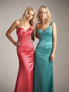 Peach and aquamarine bridesmaid gowns