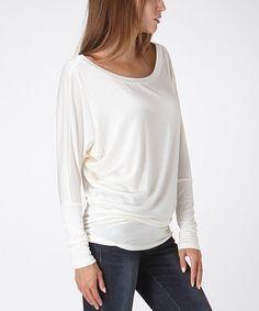 White Long-Sleeve Dolman Top
