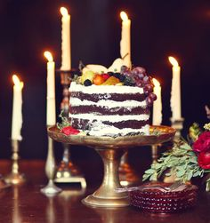 naked cake + romantic candles