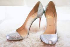 Christian Louboutin Silver Cut-Out Side Glitter Pumps