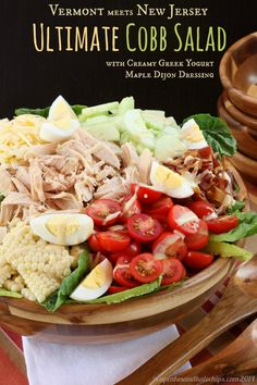 Ultimate Cobb Salad with Creamy Greek Yogurt Maple Dijon Dressing | cupcakesandkalechips.com | #bacon #cheese #glutenfree