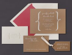 Our Kraft invitation suite is shown here foil stamped in white.