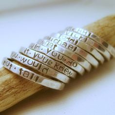 hand stamped, stack ring, hands, silver person, stacking rings