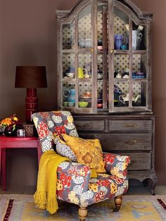 wall colors, interior design, china cabinets, chair fabric, chairs, granny chic, interiors, homes, bohemian style