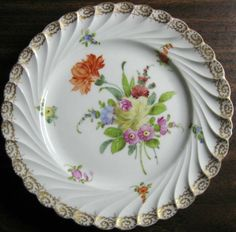 Decorative Dishes - Shabby Euro Porcelain Yellow Rose Gold Edge Swirl Hand Painted Plate, $19.99 (http://www.decorativedishes.net/shabby-euro-porcelain-yellow-rose-gold-edge-swirl-hand-painted-plate/)