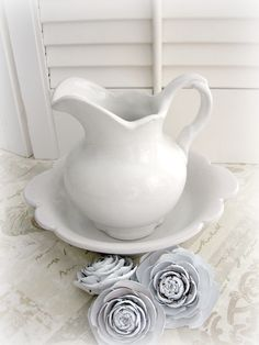 vintage white bowl and pitcher