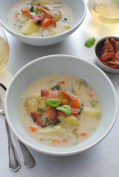 Creamy Potato Soup with Bacon and Basil