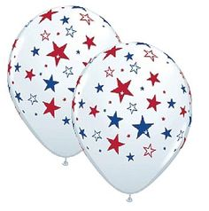 Patriotic Stars All-Around Latex Balloons, red, white and blue star balloons, Patriotic Stars Latex Balloons