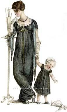 """Slight mourning dress"" woman and child, 1809"