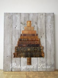 Book spine - unusual christmas tree created by Julia