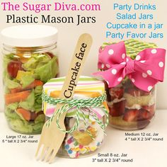 Plastic Mason Jars are perfect for serving your party drinks and food treats. Cupcakes, Salads, Cobblers, Layered Cake, Fruit, Pink Lemonade, Sweet Tea, Milk Shakes, Smoothies and more.....Unbreakable clear lightweight plastic jars for pretty party tables, buffets, catering, lunch box surprises and homemade food gifts. Available in 3 sizes at The Sugar Diva.com