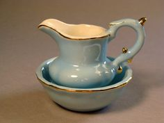 Tiny Blue Wash Pitcher and Basin