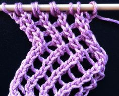 Trellis Lace - The Weekly Stitch.  Only a two row repeat and can slanted to the left or right.