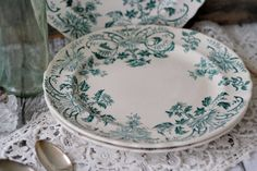 Antique French Salad Plates Set of 3 Terre de fer (Ironstone) Teal and White Floral - Pattern: Paquerettes - by Longchamp - circa 1890s.