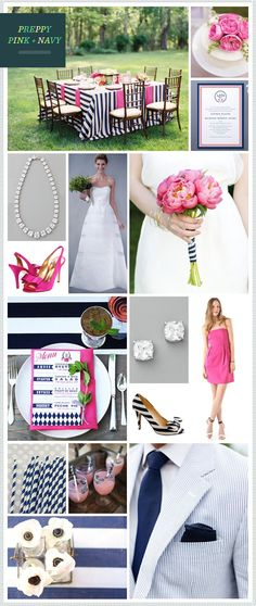 Preppy Pink + Navy Wedding Inspiration - @MeganGassner saw this and thought of you! You love pink and navy for the future hubby!!