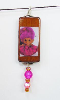 Vintage DAM Troll Doll Bamboo Tile Pendant / Key chain Charm