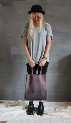 Purpertaupe airbrushed leather tote by thehouseof4