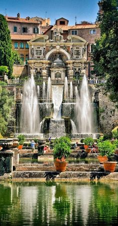 The water organ fountain and fishpond at Villa d'Este in Tivoli